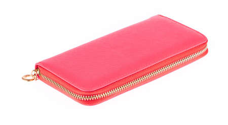 Pink Leather Large Zipped Wallet long isolated on white background