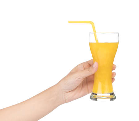 hand holding glass of fresh watermelon juice isolated on a white background. Zdjęcie Seryjne - 140206644