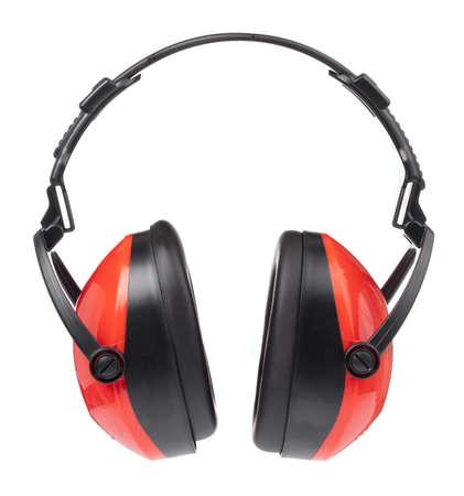 Red Headphones Isolated on White Background Zdjęcie Seryjne - 140206227