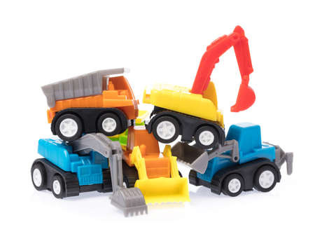 set of Toy Garbage Truck with tractor isolated on a white background. Banque d'images
