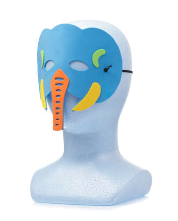 animal carnival mask with mannequin head isolated on white background