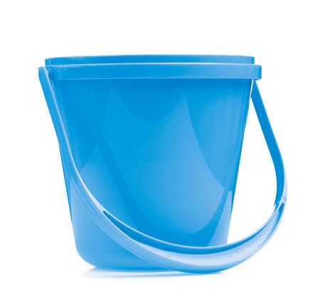 Blue plastic bucket for water isolated on white background