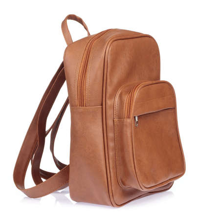 Brown leather casual backpack isolated on white background