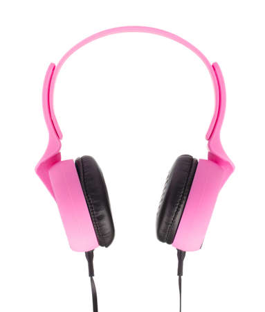 Pink Headphones Isolated on White Background