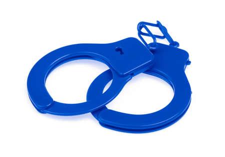 Blue Handcuffs isolated on white background Zdjęcie Seryjne