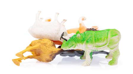 Plastic Toy Animal isolated on white background. Stock Photo