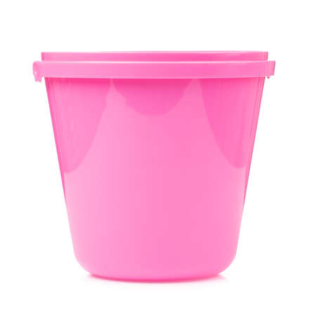 Pink plastic bucket for water isolated on white background