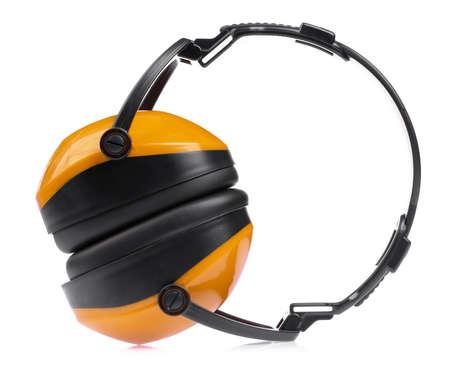 Orange Headphones Isolated on White Background