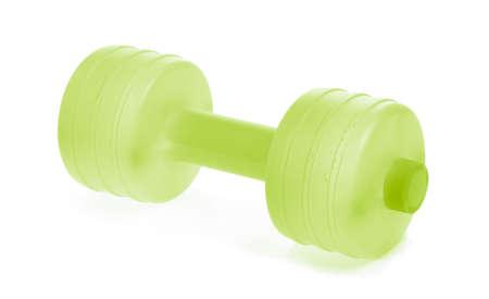 Green dumbbells plastic isolated on white background Zdjęcie Seryjne