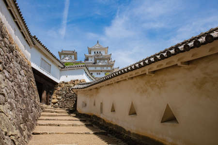 Himeji Castle defensive tower and walls with roof tile detail