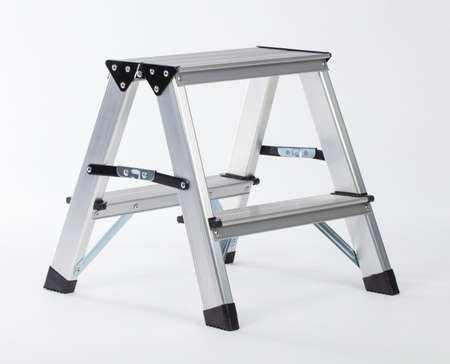 Aluminum metal step-ladder Triple Part isolated on white background