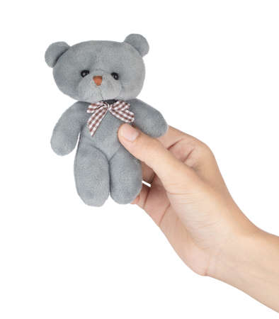 Hand holding Lovely Teddy bear plush toys small doll Isolated on White Background