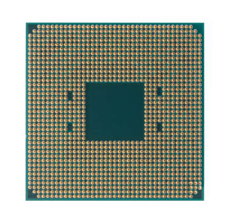 CPU microchip isolated on white background