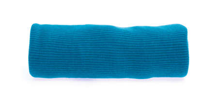 Roll of Blue fabric isolated on a white background.