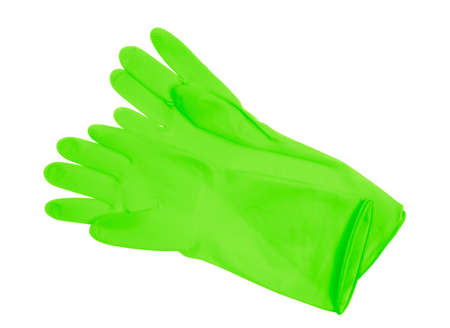 Green plastic gloves isolated on white background Standard-Bild - 150260889