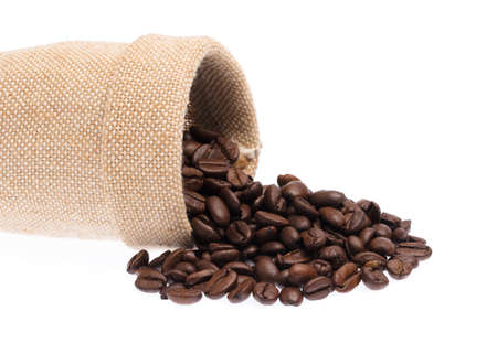 sack of roasted coffee beans isolated on white background