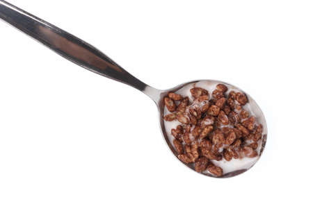 spoon of chocolate Cereal with milk isolated on white background. Stock Photo