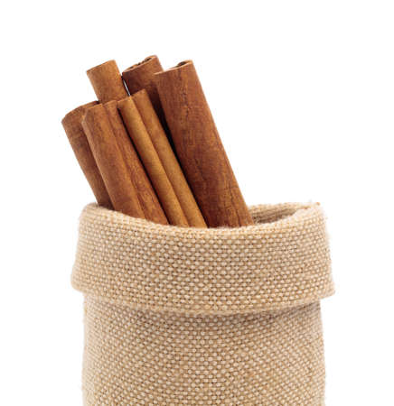 sack of cinnamon isolated on white background