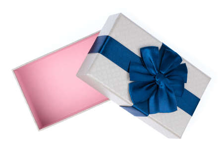 Gift color silver box with blue ribbon and bow isolated on white background