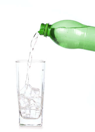 Pouring aerated soft drink Into Bottle Glass Archivio Fotografico
