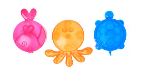 toys plastic sand molds of sea creature isolated on white background