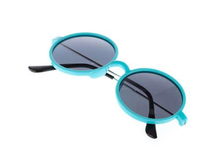 Blue Plastic Sunglasses Isolated on White Background