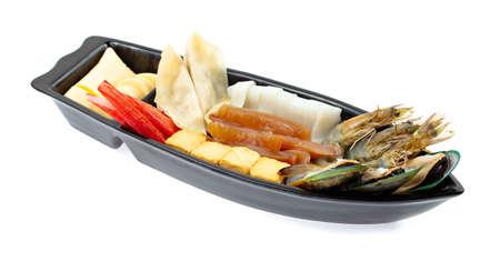 Set of seafood for Shabu or Sukiyaki Japanese hot pot style isolated on white background