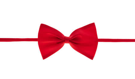 Red bow tie isolated on a white background