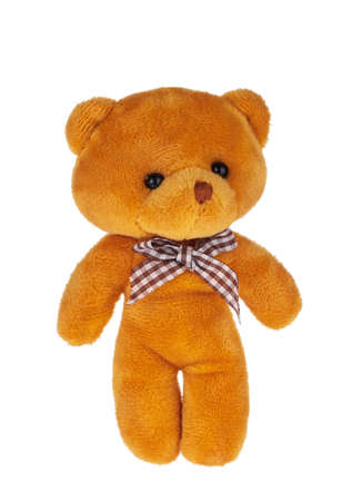 Lovely Teddy bear plush toys small doll Isolated on White Background Foto de archivo