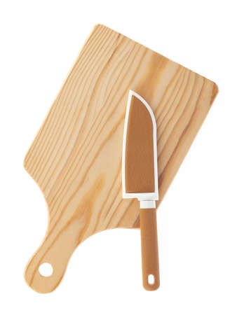 Brown knife with a brown knife sheath on wood cutting board