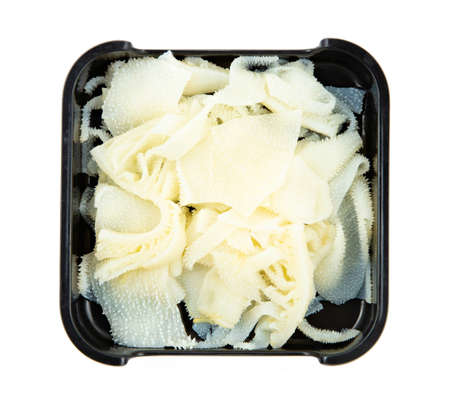 fresh ox tripe on plate isolated on white background