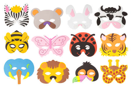 collection animal carnival mask isolated on white background