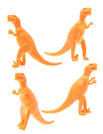 Collection of Toy plastic dinosaur isolated on white background.