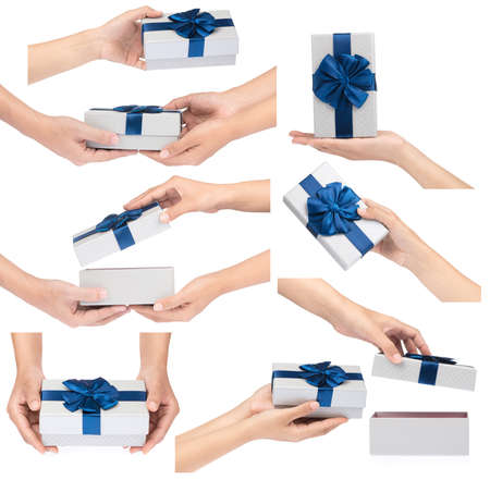 Collection of Hands giving and receiving a present isolated on white background. Archivio Fotografico