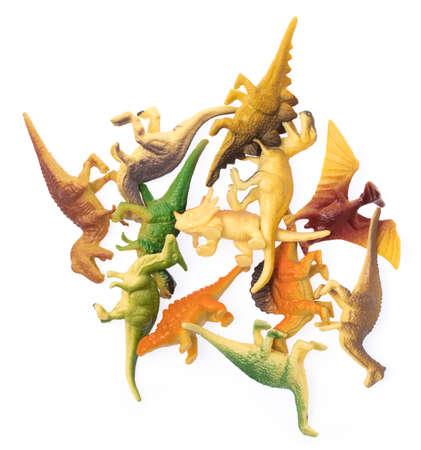 plastic dinosaur toy isolated on white background Stock Photo