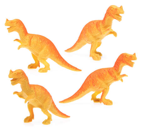 Collection of Toy plastic dinosaur isolated on white background. Stock Photo