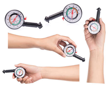 Collection of hand holding Manometer for measuring tire pressure isolated on white background.