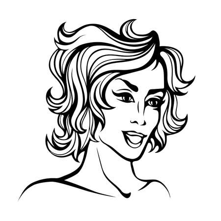 fila de personas: stylized portrait of cartoon pretty fashion girl with short curly hair isolated on white Vectores
