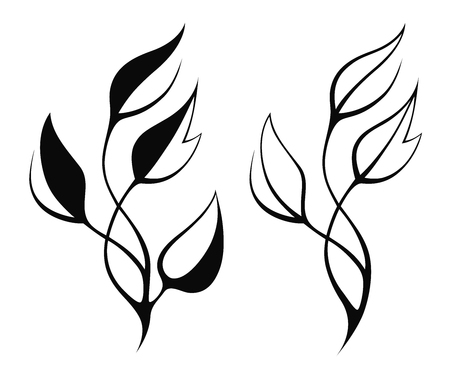 spring leaf: Vector stylized silhouette of spring leaf isolated on white Illustration