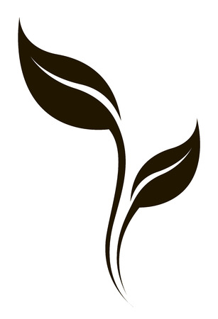 Vector stylized natural silhouette of leaf isolated on white. Ecology sign. Vettoriali