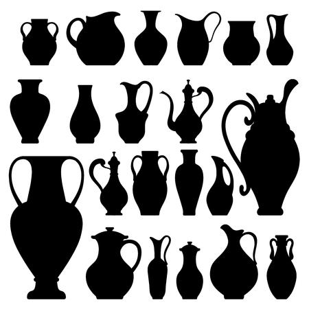 crockery: Vector silhouettes of vases. Isolated on white crockery Illustration