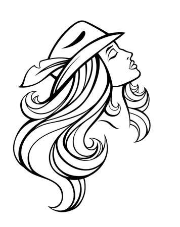 woman smile: Vector stylized portrait of cartoon pretty fashion girl with long hair in hat isolated on white. Linear illustration.