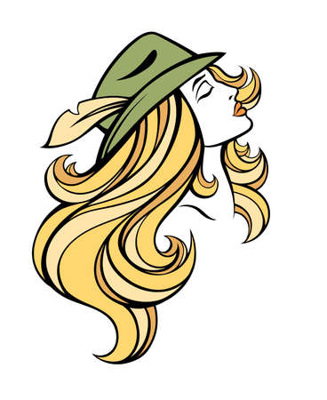 blondie: Vector stylized portrait of cartoon pretty fashion blondie girl with long hair in hat isolated on white. Linear illustration. Illustration