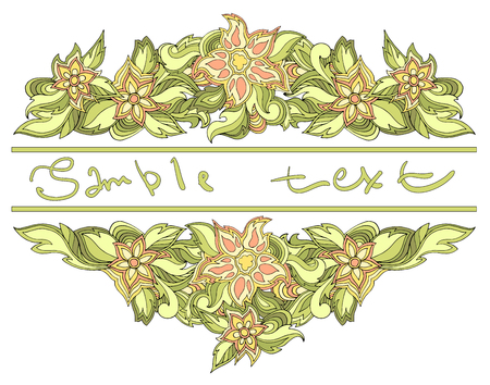 Spring background with place for text. Vector floral banner with leaves and flowers. For inviting, greeting cards, labels.