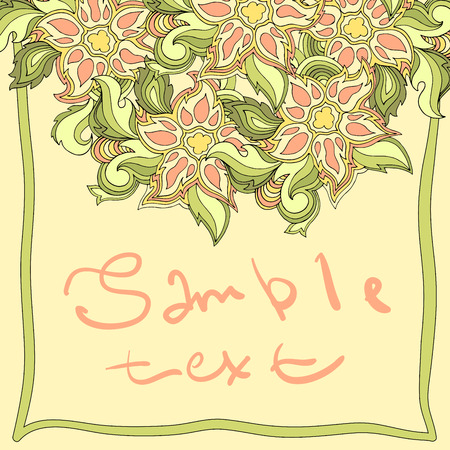 invitando: Spring background with place for text. Vector floral banner with leaves and flowers. For inviting, greeting cards, labels.