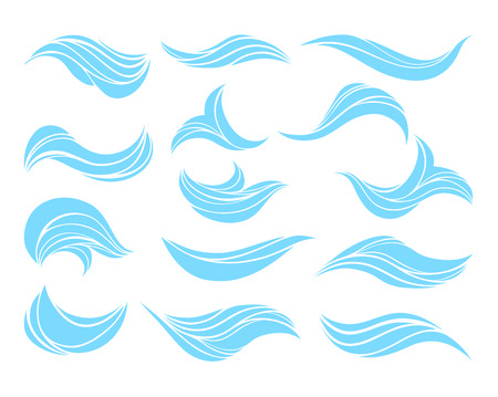 capricious: Vector decorative blue ocean or sea waves, set for marine, yachting and water sport concepts, illustration isolated on white background.