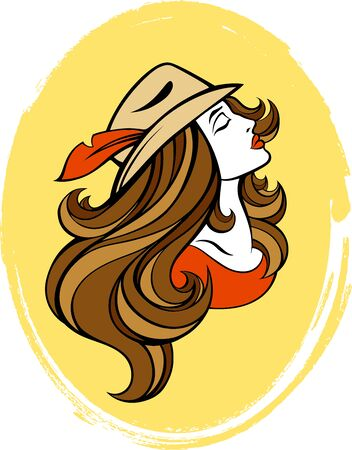 summer girl: stylized portrait of cartoon fashion girl with long hair in  hat isolated on yellow. Vintage linear illustration.