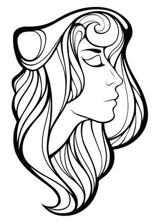 druid: Vector decorative portrait of shaman girl with  long hair isolated on white background.