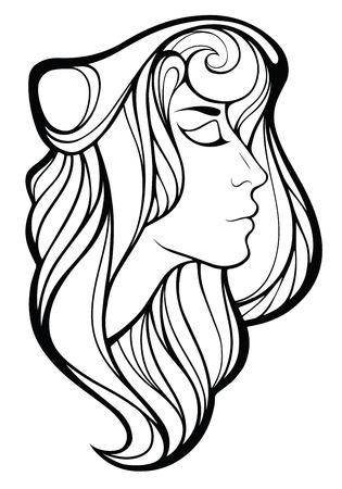 Vector decorativo retrato de la muchacha chamán con el pelo largo aislado en el fondo blanco.