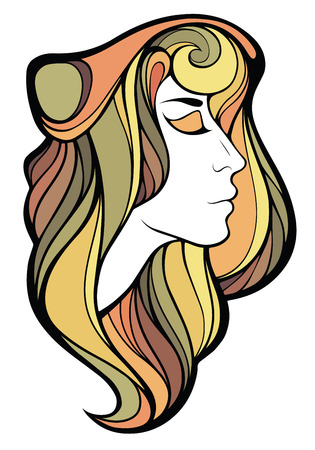 hairdress: Vector decorative portrait of shaman girl with color long hair isolated on white background.